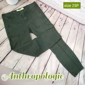 Anthropologie Green Cropped Pants size 25P